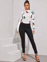 Load image into Gallery viewer, BODYSUIT Stand Collar Butterfly Print Slim Bodysuit - EK CHIC