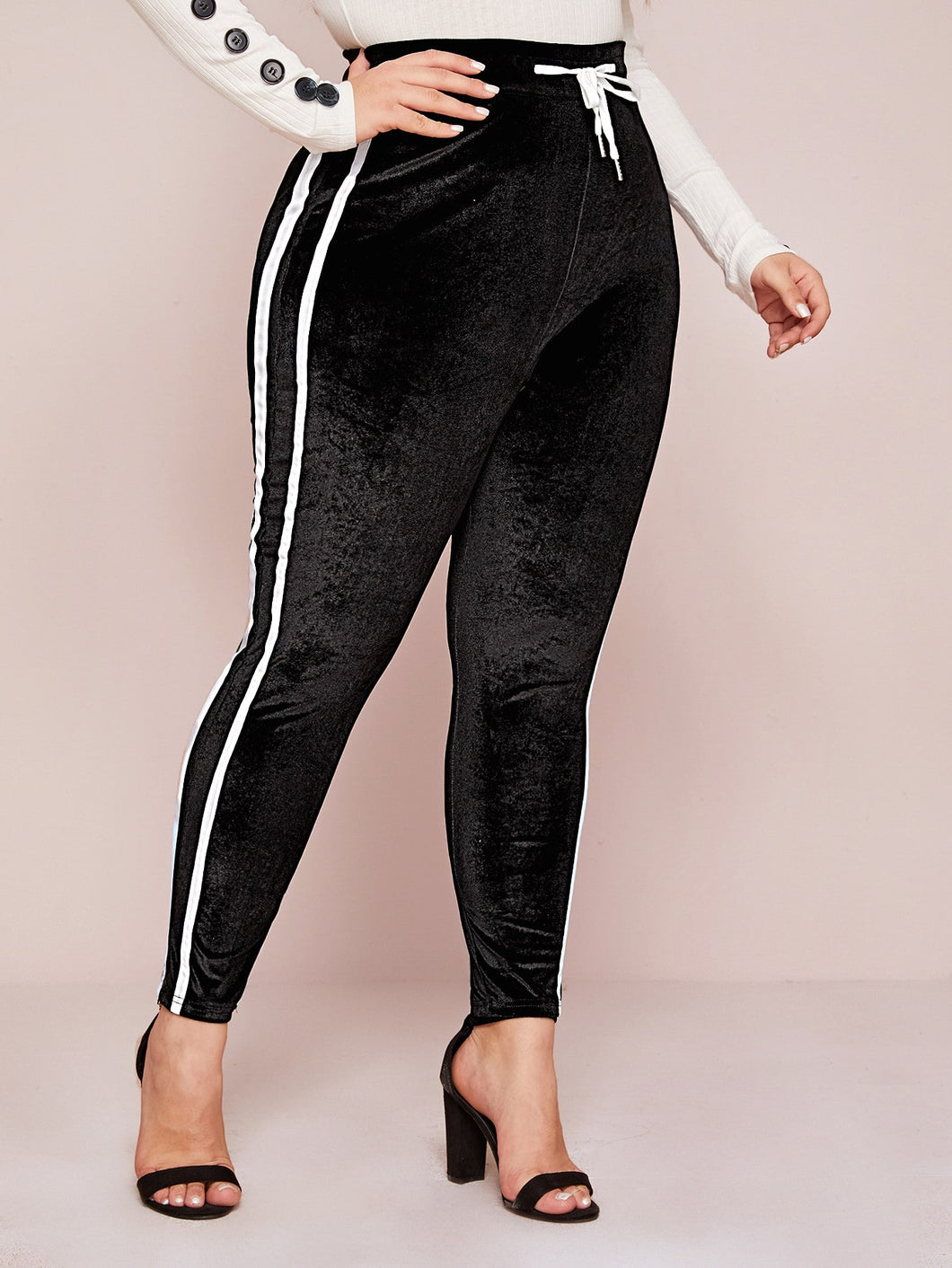 PANTS Plus Side Striped Drawstring Velvet Leggings - EK CHIC