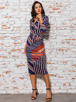 DRESSES Elegant Striped Patchwork Belted Pencil Dress - EK CHIC