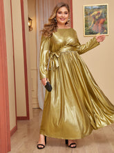 Load image into Gallery viewer, DRESS  Plus Bow Tie Waist Metallic Maxi Dress - EK CHIC