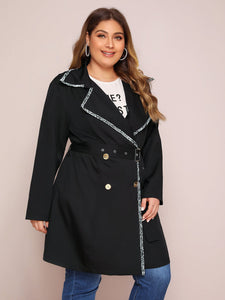 JACKET/COAT Plus Contrast Tweed Trim Double Breasted Belted Coat - EK CHIC