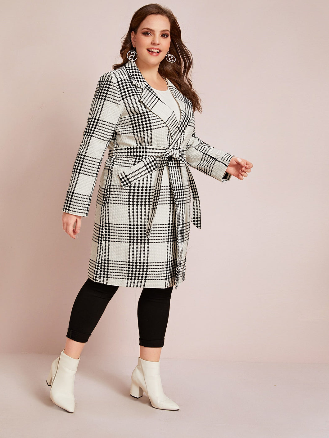 JACKET/COAT Plus Tweed Double Breasted Belted Coat - EK CHIC