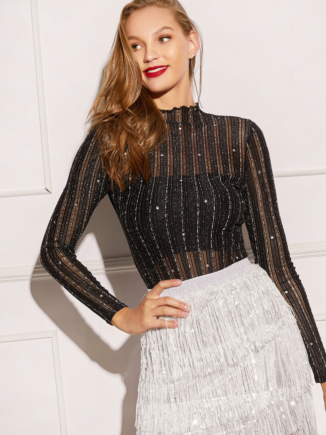 TOPS Silver Thread Detail Sheer Star Mesh Top Without Bra - EK CHIC