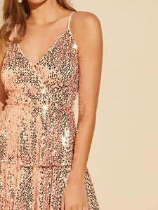 DRESS Wrap Front Layered Sequin Prom Dress - EK CHIC