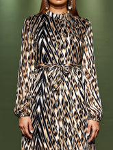 Load image into Gallery viewer, DRESS Geometric & Leopard Belted Keyhole Back Dress - EK CHIC