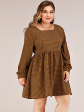 Load image into Gallery viewer, DRESS Plus Square Neck Houndstooth A-line Dress - EK CHIC