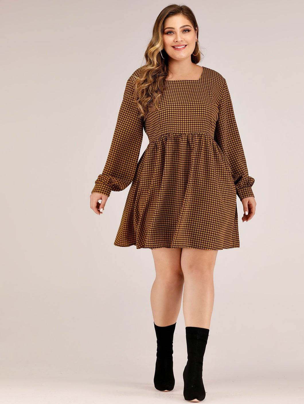 DRESS Plus Square Neck Houndstooth A-line Dress - EK CHIC