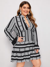 Load image into Gallery viewer, DRESS Plus Notch Neck Geo Print A-line Dress - EK CHIC