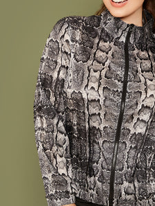 JACKET/COAT Plus Zip Up Snakeskin Print Jacket - EK CHIC
