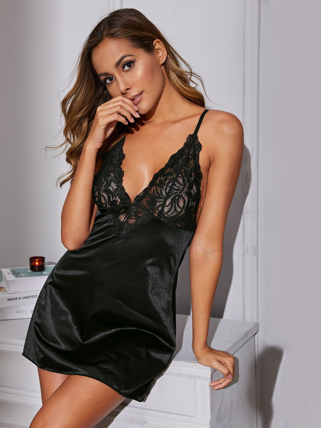 LINGERIE Contrast Lace Satin Slips With Thong - EK CHIC