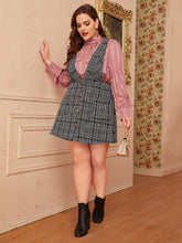 Load image into Gallery viewer, DRESS Plus Button Front Tweed Pinafore Dress - EK CHIC