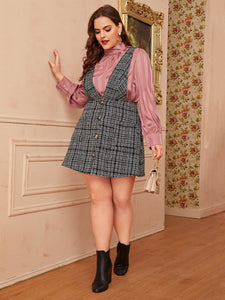 DRESS Plus Button Front Tweed Pinafore Dress - EK CHIC