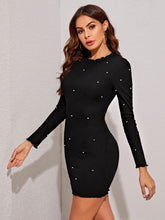 Load image into Gallery viewer, DRESS  Lettuce Trim Pearls Beaded Bodycon Dress - EK CHIC