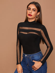 BODYSUIT Mesh Insert Form Fitted Bodysuit - EK CHIC
