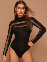 Load image into Gallery viewer, BODYSUIT Mesh Insert Form Fitted Bodysuit - EK CHIC