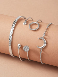 JEWELRY Moon & Round Decor Bracelet 4pcs - EK CHIC