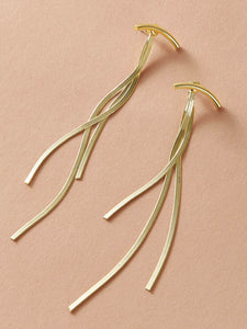 JEWELRY 1pair Curved Bar String Earrings - EK CHIC