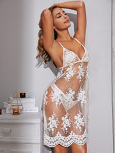 Load image into Gallery viewer, LINGERIE Floral Sheer Embroidery Mesh Dress With Thong - EK CHIC