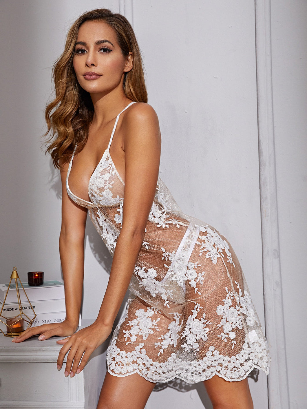 LINGERIE Floral Sheer Embroidery Mesh Dress With Thong - EK CHIC