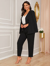 Load image into Gallery viewer, TWO PIECE SET Plus Solid Cape Blazer & Pants Set Without Belt - EK CHIC