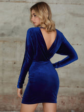 Load image into Gallery viewer, DRESS Double Crazy Plunge Neck Batwing Sleeve Velvet Bodycon Dress - EK CHIC
