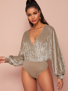 BODYSUIT Velvet Surplice Front Bishop Sleeve Bodysuit - EK CHIC