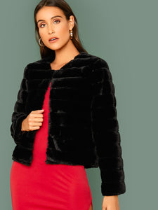 COAT Open Front Faux Fur Coat - EK CHIC