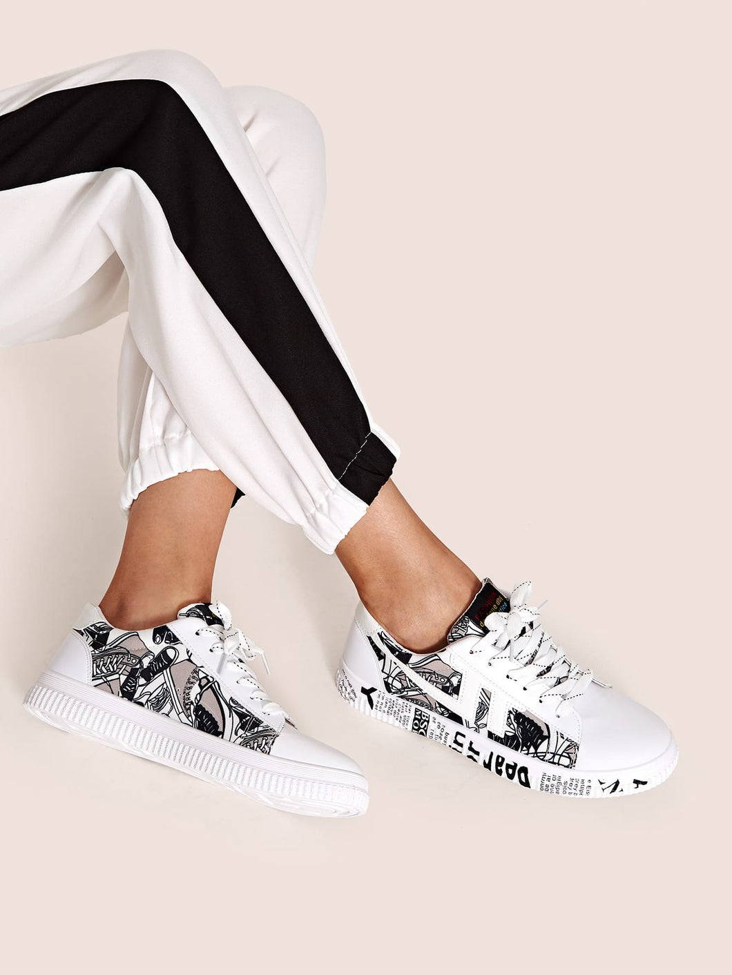 LETTER SNEAKERS Letter Graphic Lace Up Sneakers - EK CHIC