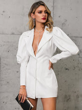 Load image into Gallery viewer, DRESS Single Breasted Gigot Sleeve Blazer Dress - EK CHIC
