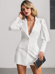 DRESS Single Breasted Gigot Sleeve Blazer Dress - EK CHIC