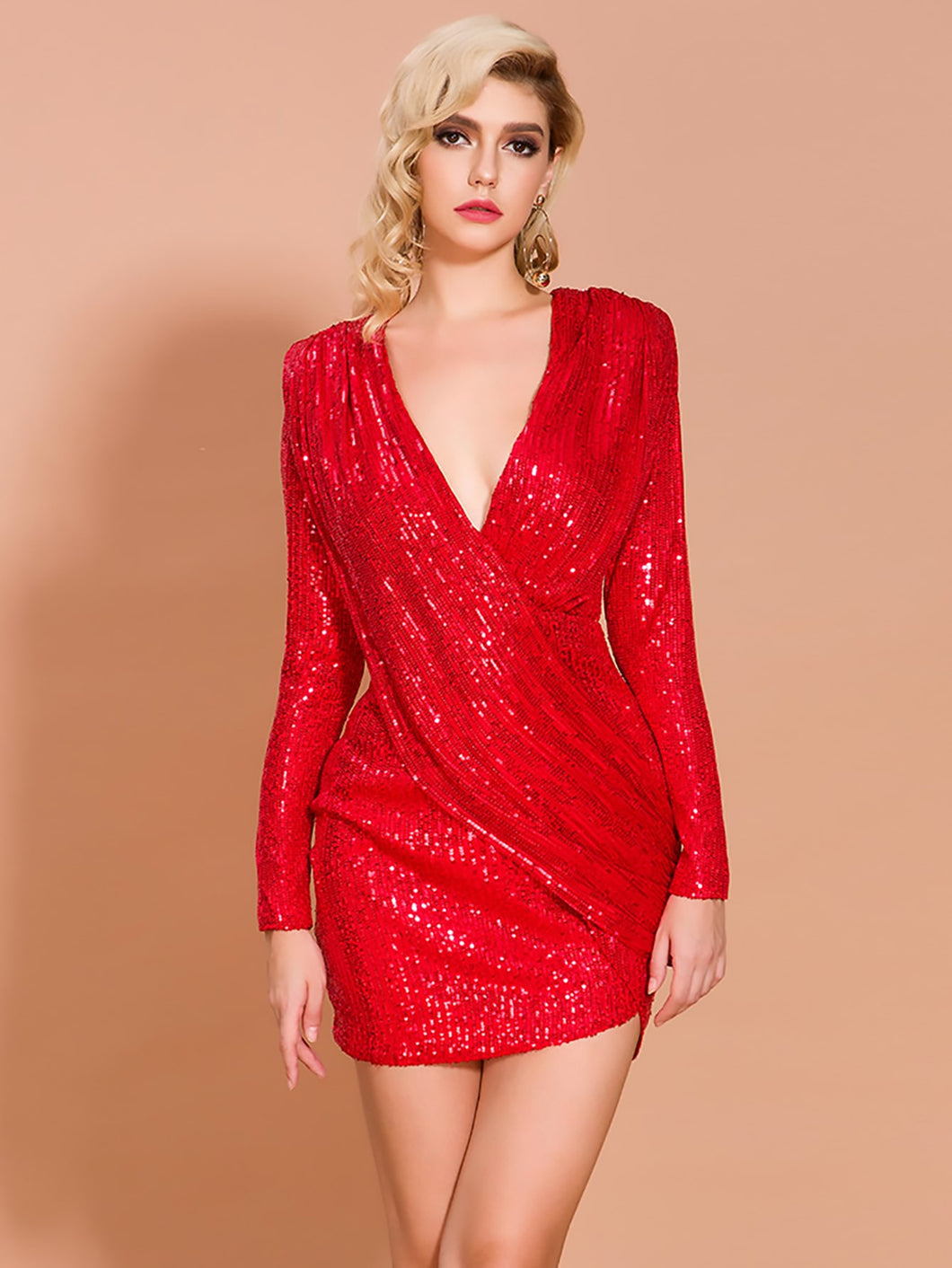 DRESS Zip Back Plunge Neck Sequin Bodycon Dress - EK CHIC