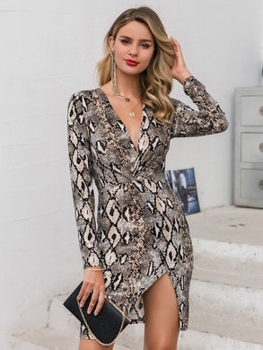 DRESSES Snakeskin Print Twist Front Wrap Bodycon Dress - EK CHIC