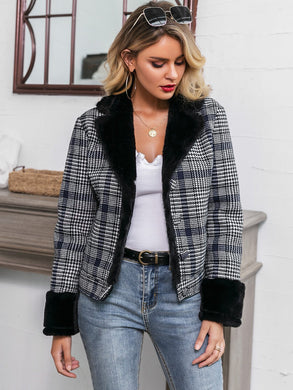 COATS & JACKETS Faux Fur Collar & Cuff Plaid Jacket - EK CHIC