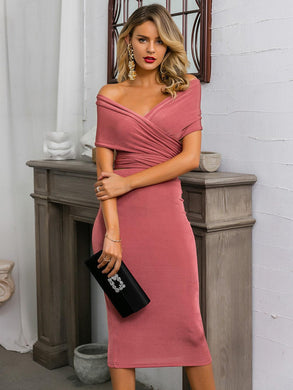 TWO PIECE SET Pink Tie Back Bardot Top & Pencil Skirt Set - EK CHIC