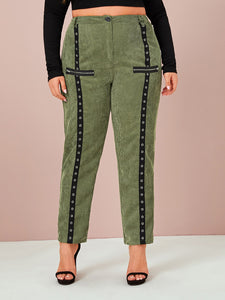 PANTS Plus Grommet & Zip Detail Corduroy Pants - EK CHIC