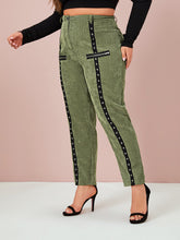 Load image into Gallery viewer, PANTS Plus Grommet & Zip Detail Corduroy Pants - EK CHIC