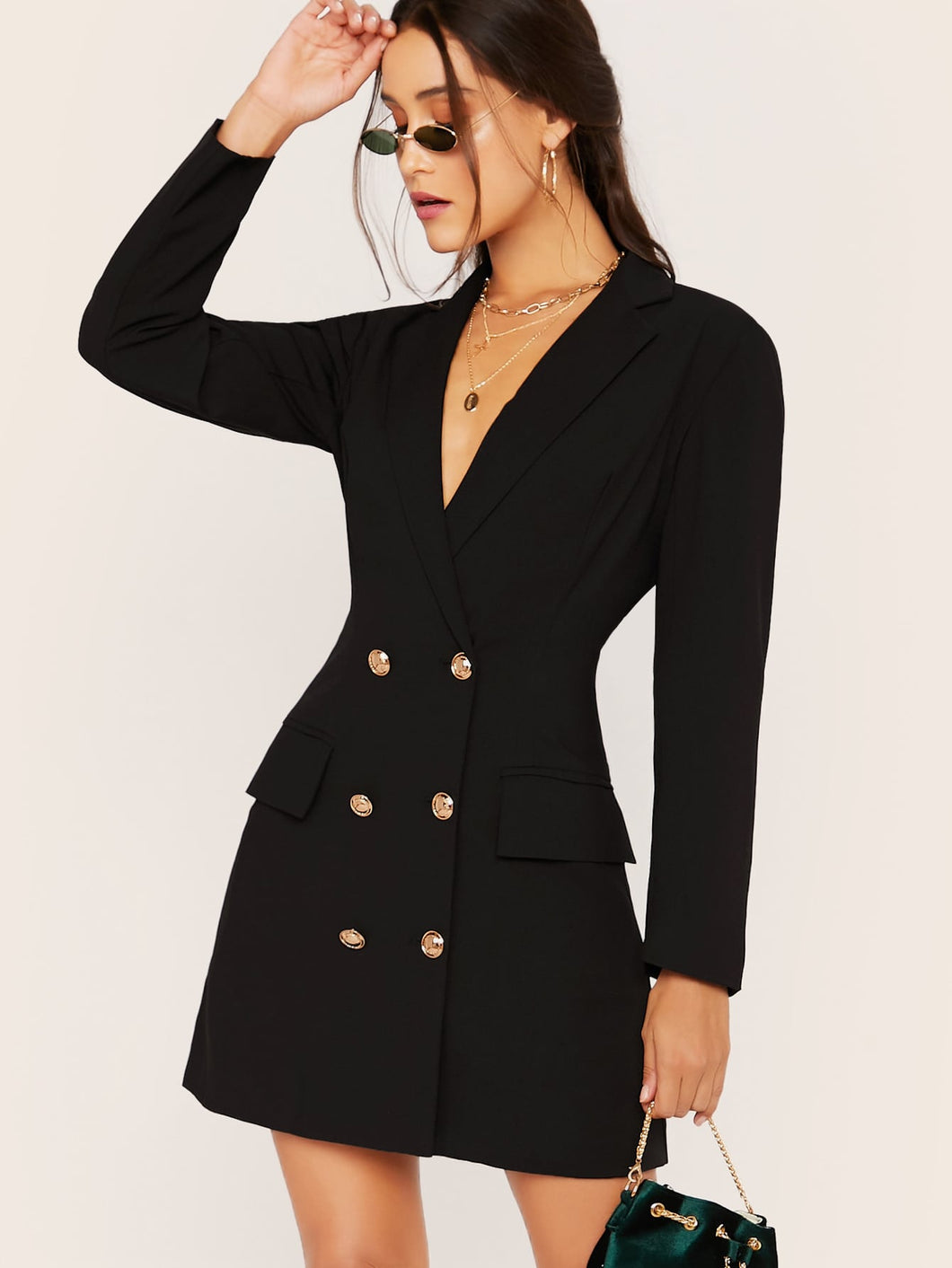 DRESS Notched Collar Double Breasted Blazer Dress - EK CHIC