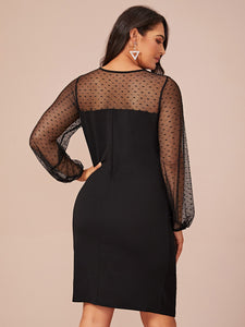 DRESS Plus Dobby Mesh Yoke Ruched Detail Sweetheart Dress - EK CHIC