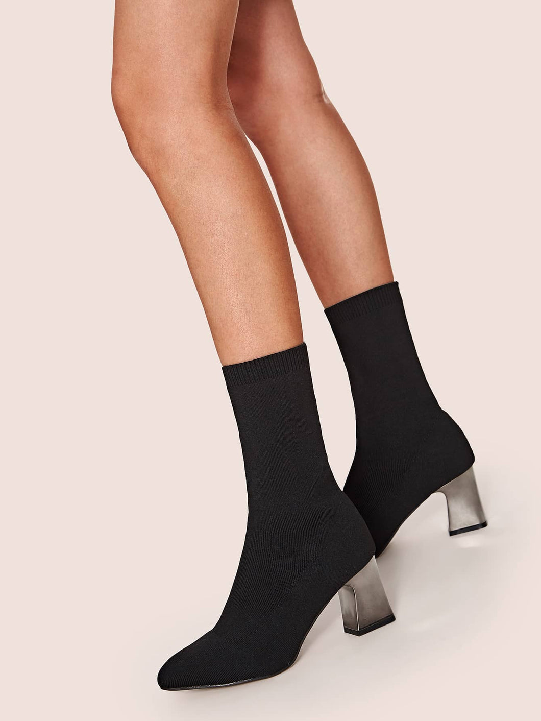 BOOTS Point Toe Chunky Heeled Sock Boots - EK CHIC