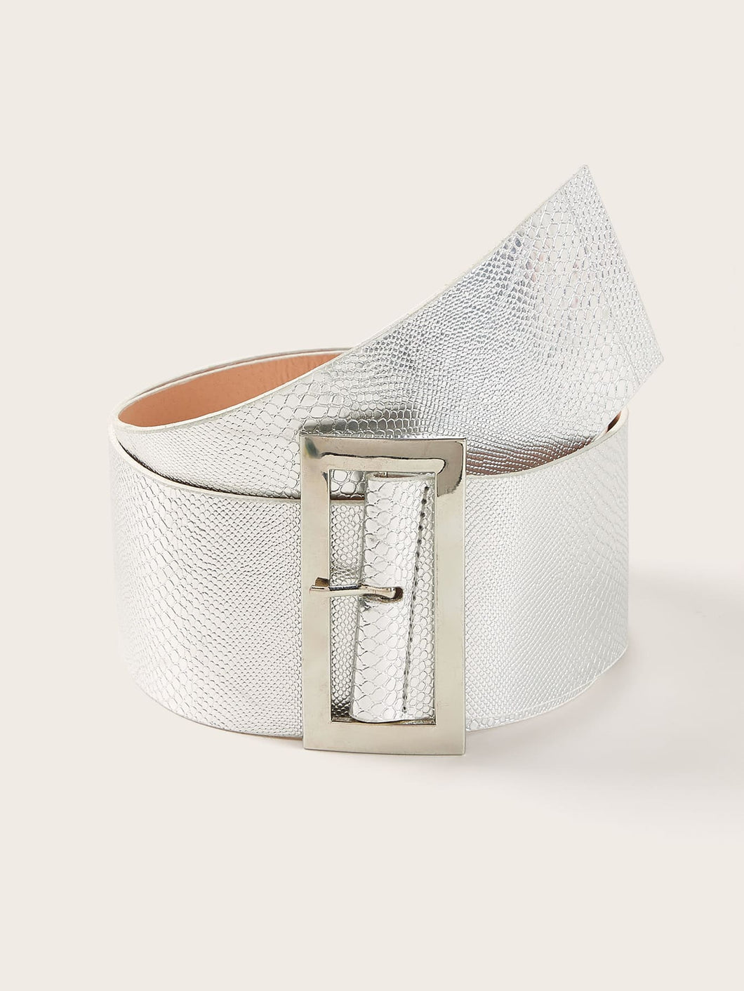 BELTS Snakeskin Pattern Metal Buckle Belt - EK CHIC