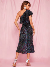 Load image into Gallery viewer, DRESS One Shoulder Ruffle Trim Sequin Bodycon Prom Dress - EK CHIC
