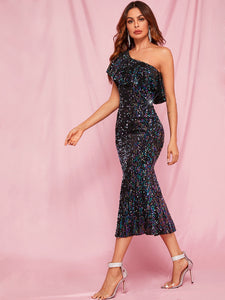 DRESS One Shoulder Ruffle Trim Sequin Bodycon Prom Dress - EK CHIC