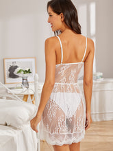 Load image into Gallery viewer, LINGERIE Floral Lace Sheer Dress With Thong - EK CHIC