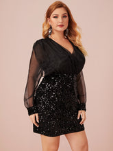 Load image into Gallery viewer, DRESS Plus Surplice Wrap Organza Bodice Sequin Dress - EK CHIC