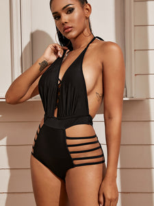 SWIMWEAR Criss Cross Ladder Cut-out One Piece Swimwear - EK CHIC
