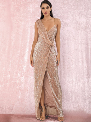 DRESS Twist Split Thigh Backless Draped Maxi Sequins Dress - EK CHIC