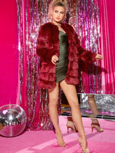 Load image into Gallery viewer, FAUX FUR COAT Open Front Textured Faux Fur Coat - EK CHIC