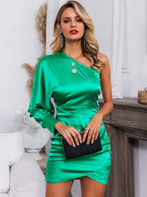Load image into Gallery viewer, DRESS One Shoulder Ruched Wrap Satin Dress - EK CHIC