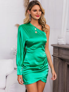 DRESS One Shoulder Ruched Wrap Satin Dress - EK CHIC