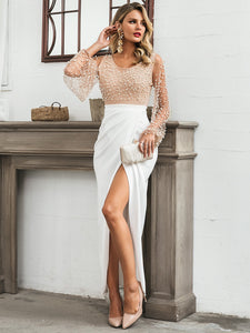 DRESS Pearl Beaded Mesh Overlay Bodice Wrap Hem Dress - EK CHIC